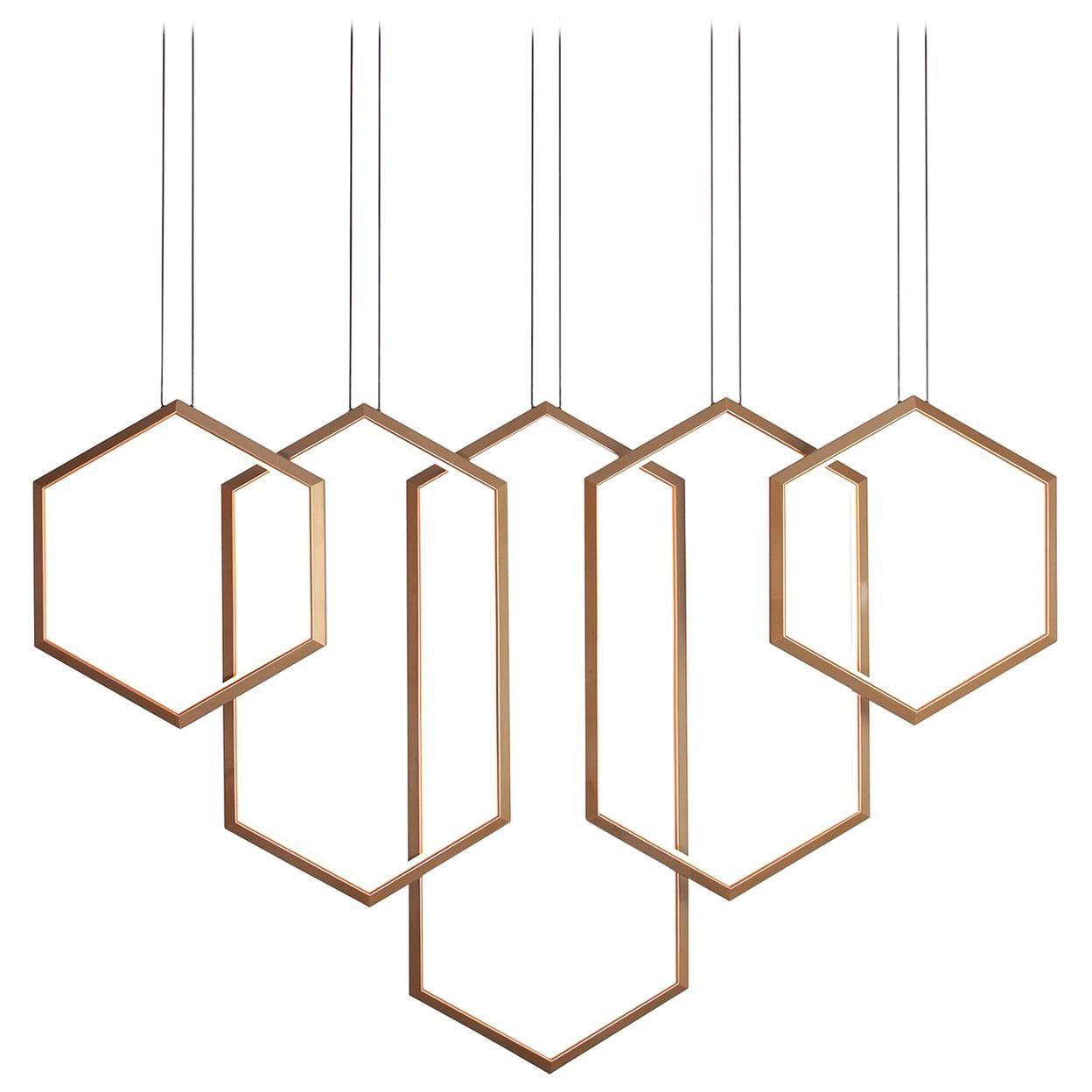 figaro v gold geometric modern led linear chandelier light fixture