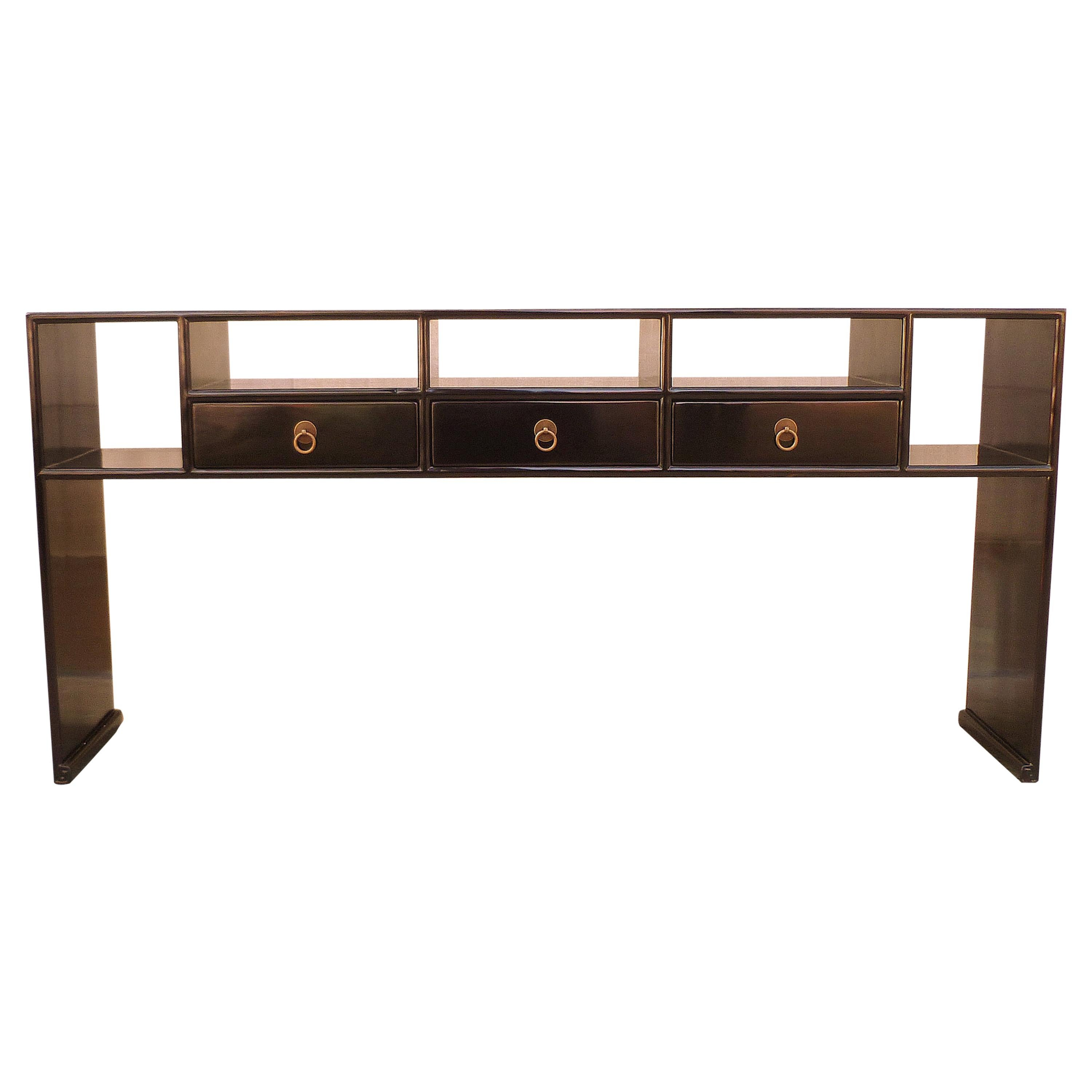 black lacquer sofa table walmart frozen flip open fine console for sale at 1stdibs