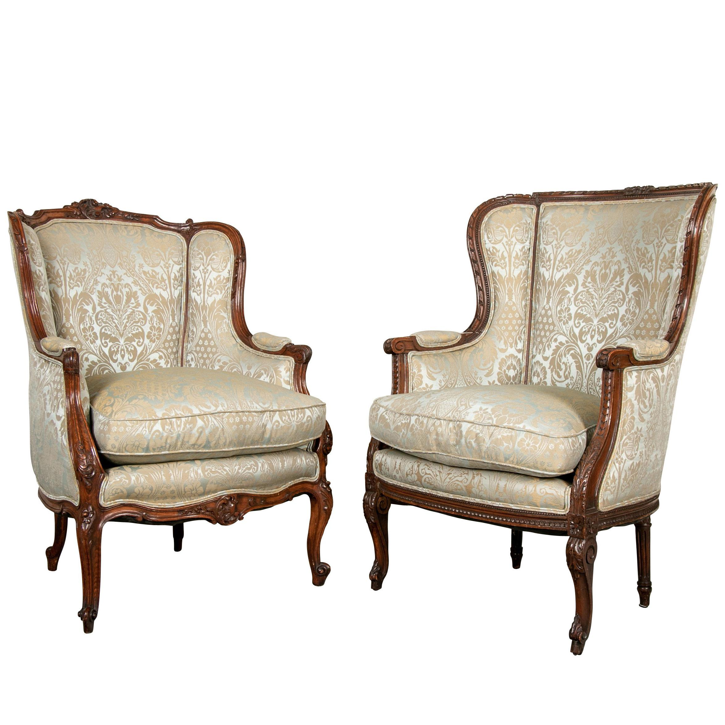 wing chairs on sale lounge chair covers for fine pair of compatible antique french upholstered