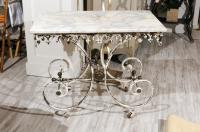 French 1920s White Painted Iron Pastry Table with Marble