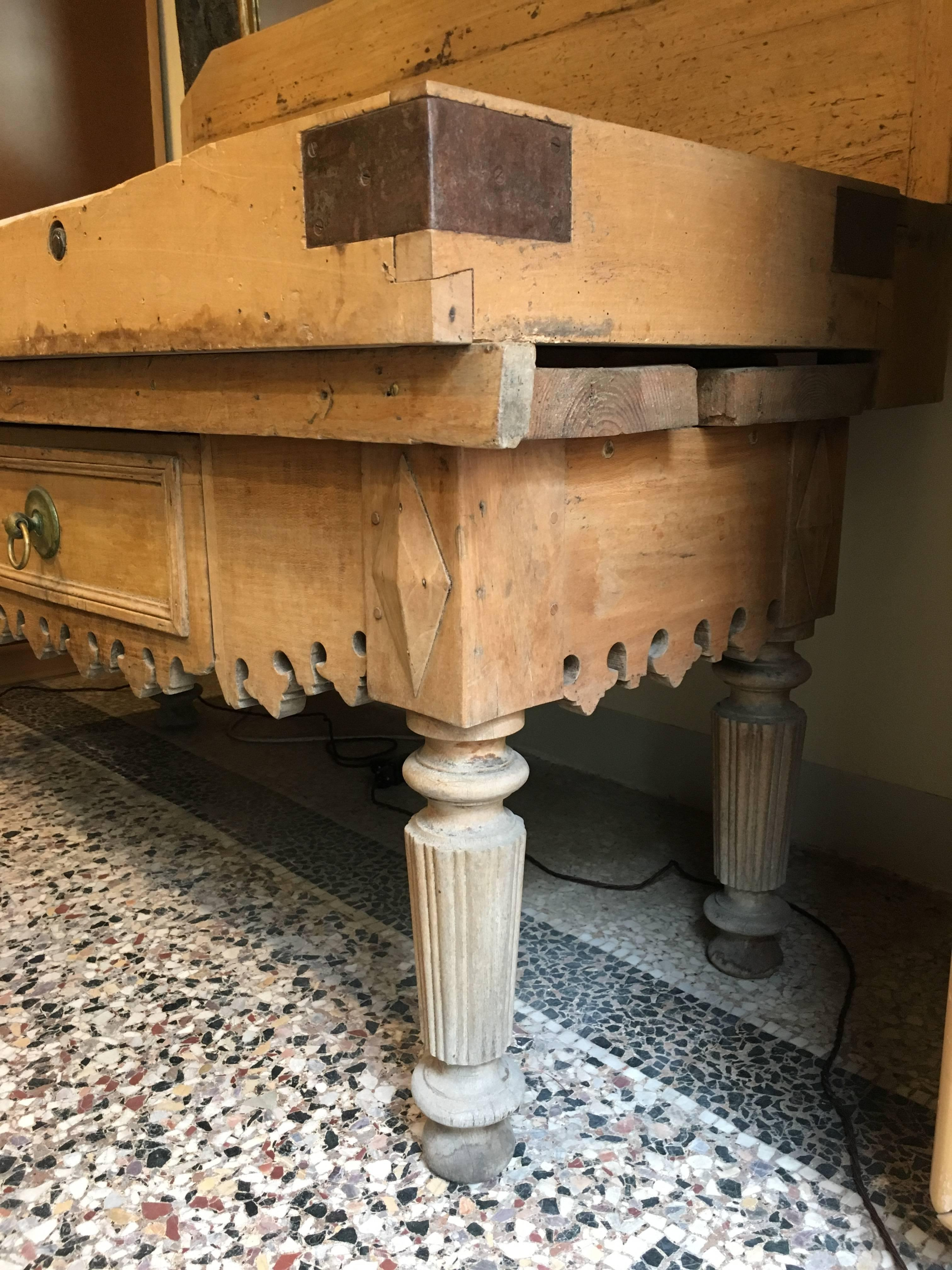 French Butcher Block Table in Oak Wood with Marble Top