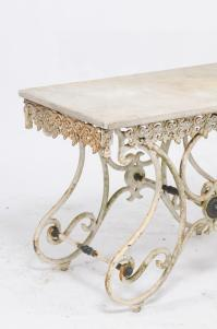 French Early 20th Century Marble Top Baker's Table with ...