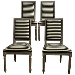 Striped Dining Chair Pilates For Sale French Neoclassical Louis Xvi Style Carved Wood Chairs