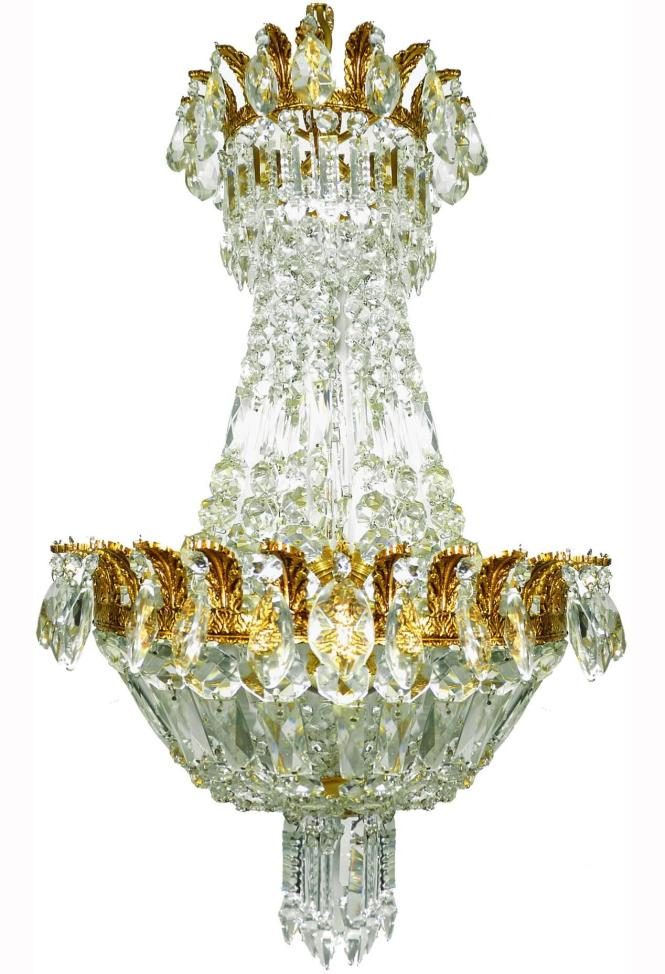 French Regency Empire Basket Gilt Bronze Chandelier Cut Crystal In Excellent Condition For