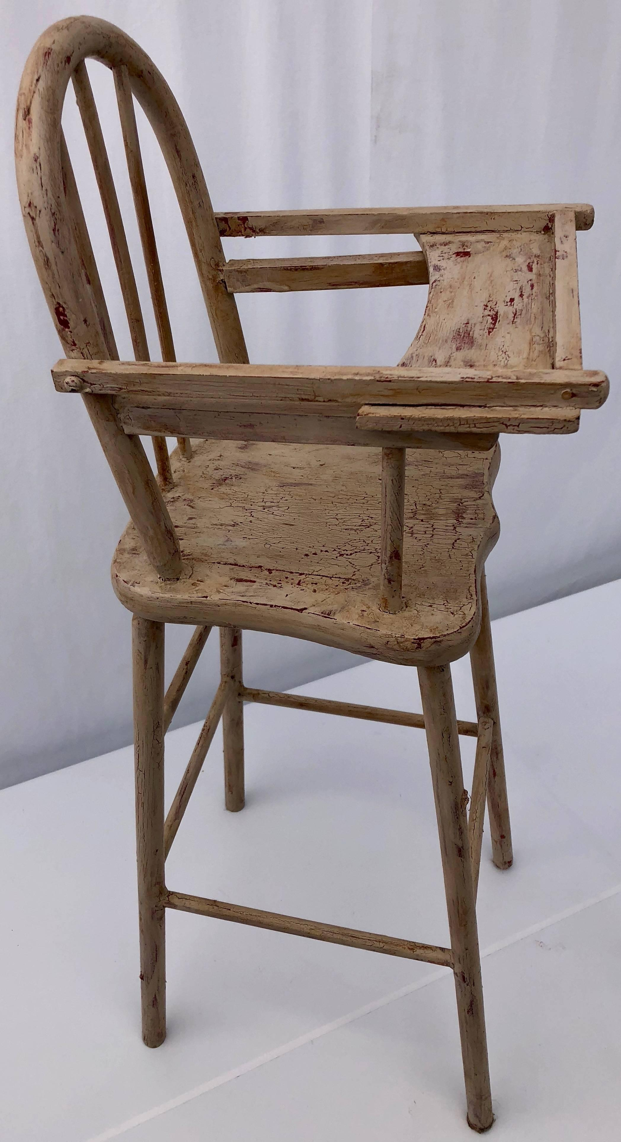 vintage wood high chair with stand up assist french wooden doll rounded top articulated mid century modern tray