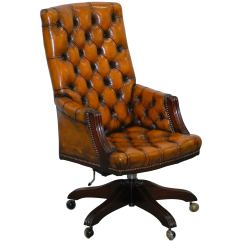 Desk Chair Brown Leather Noir Furniture Chairs Fully Restored Chesterfield Captains Office Hand Dyed Cigar For Sale
