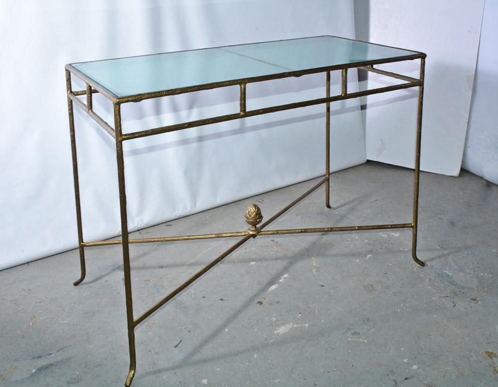 gilt wrought iron and frosted glass console table