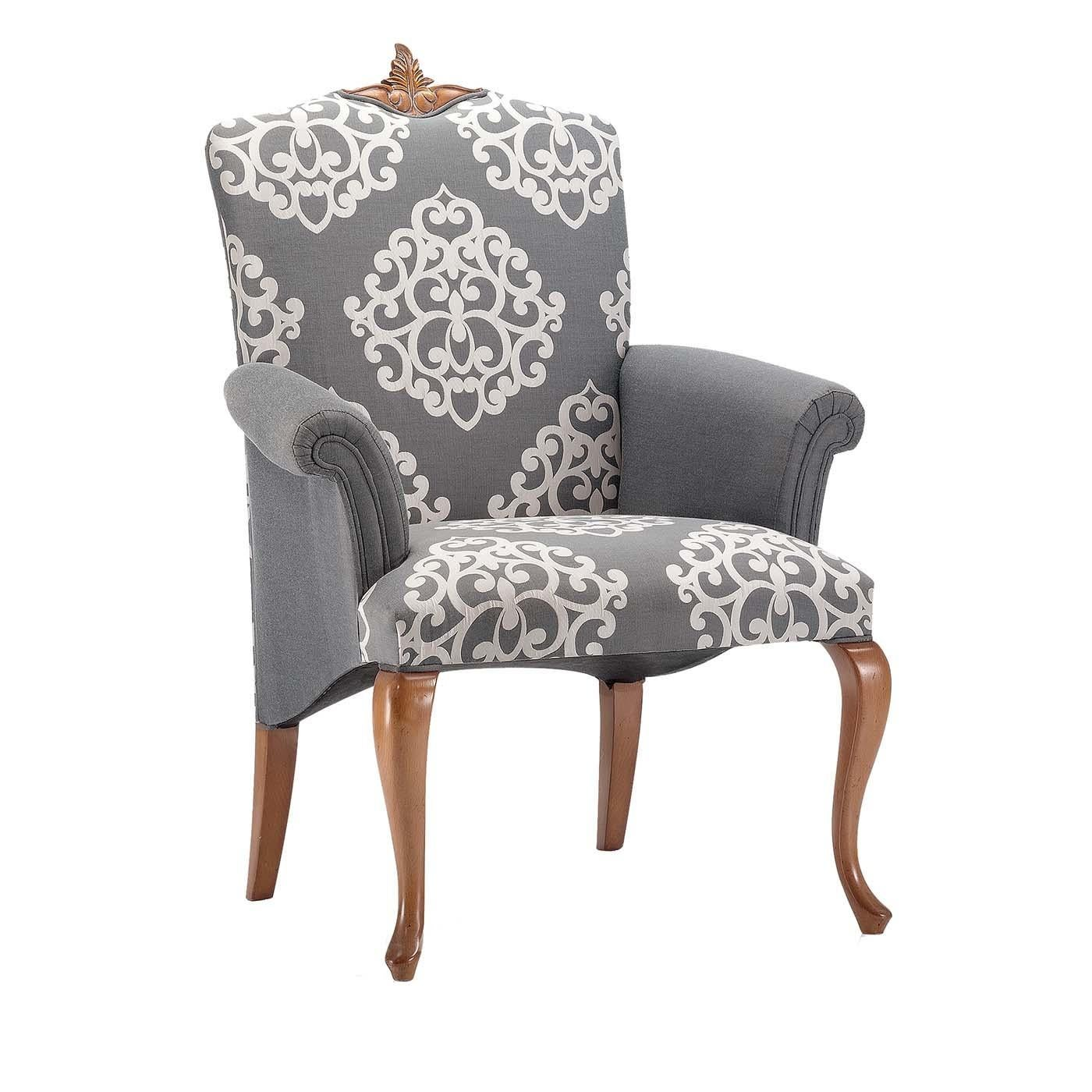 Damask Chair Gray Damask Chair With Armrests