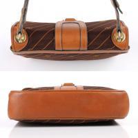 GUCCI c.1970's Brown GG Monogram Jacquard Tan Leather Flap ...