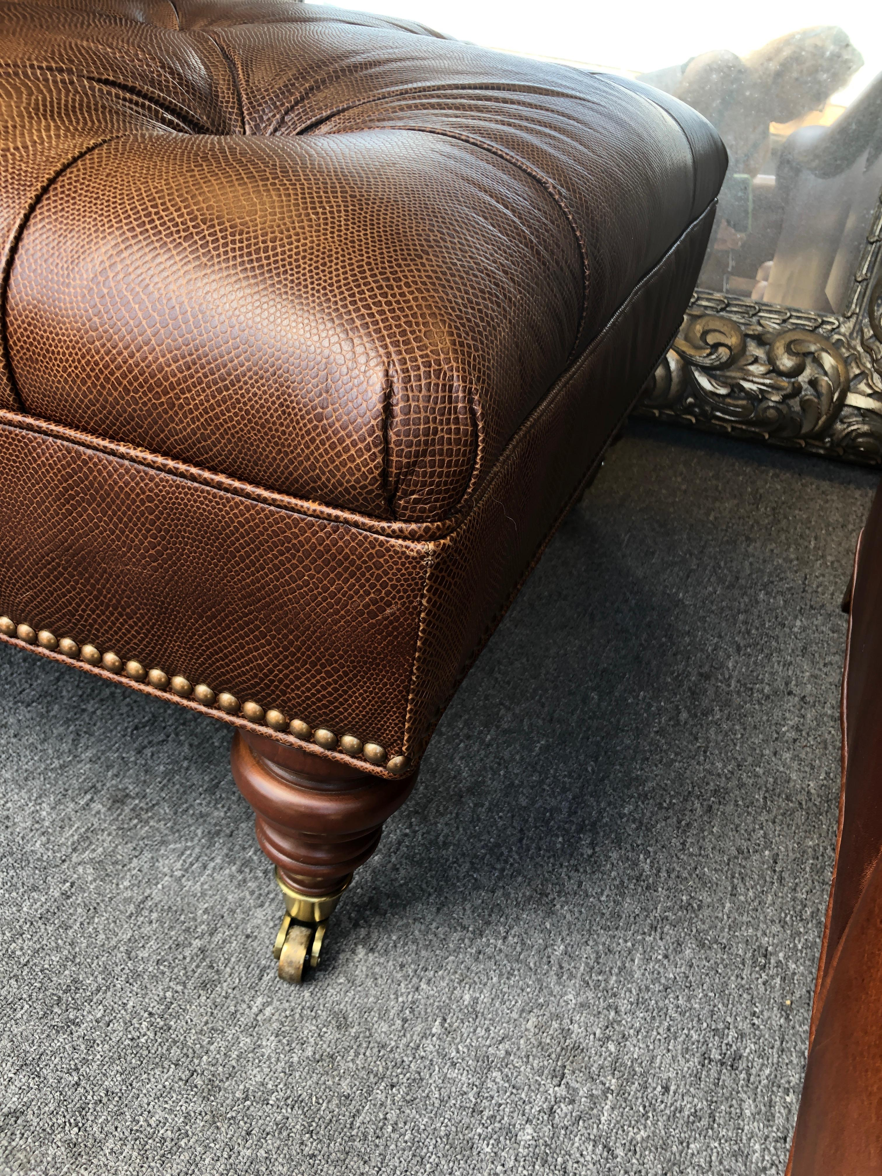 handsome embossed leather tufted ottoman coffee table