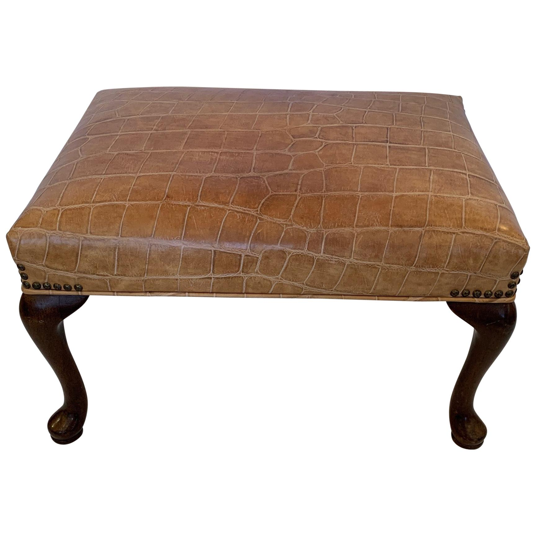 handsome faux crocodile embossed leather ottoman bench
