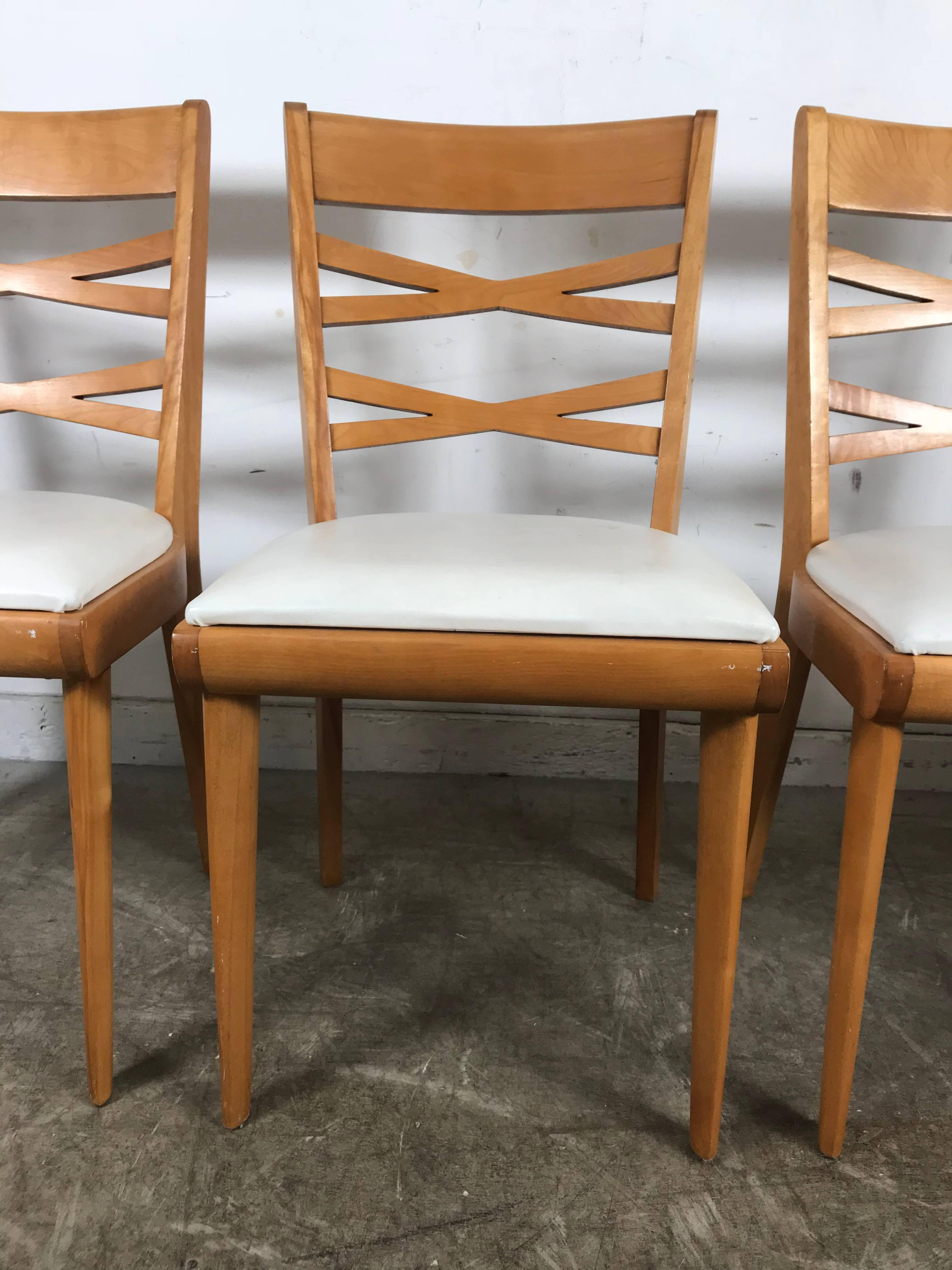 Heywood Wakefield Dining Chairs Handsome Set Of Four Midcentury Birch Dining Chairs By Heywood Wakefield