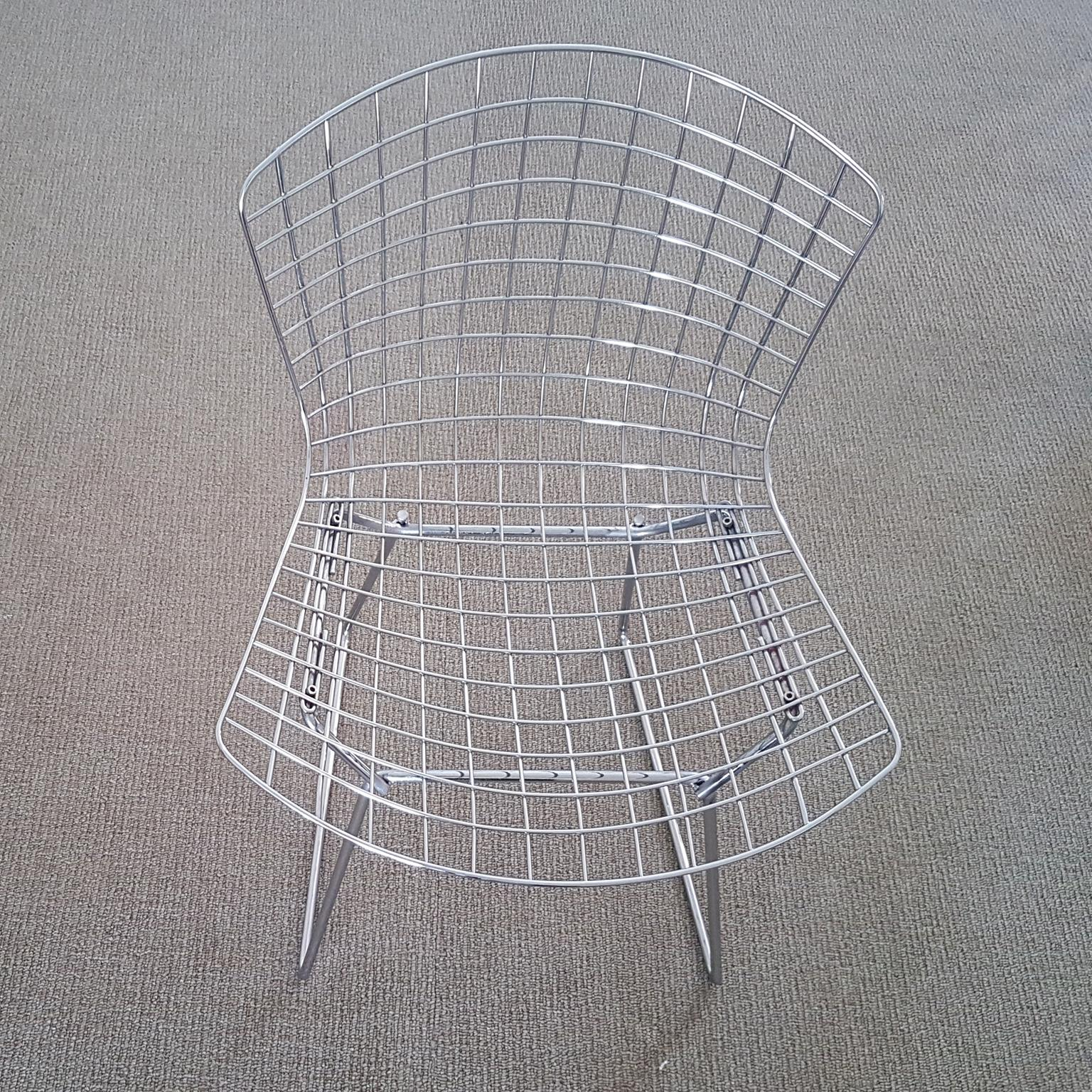steel net chair grey arm harry bertoia italian wire side with red cushion mid century modern for