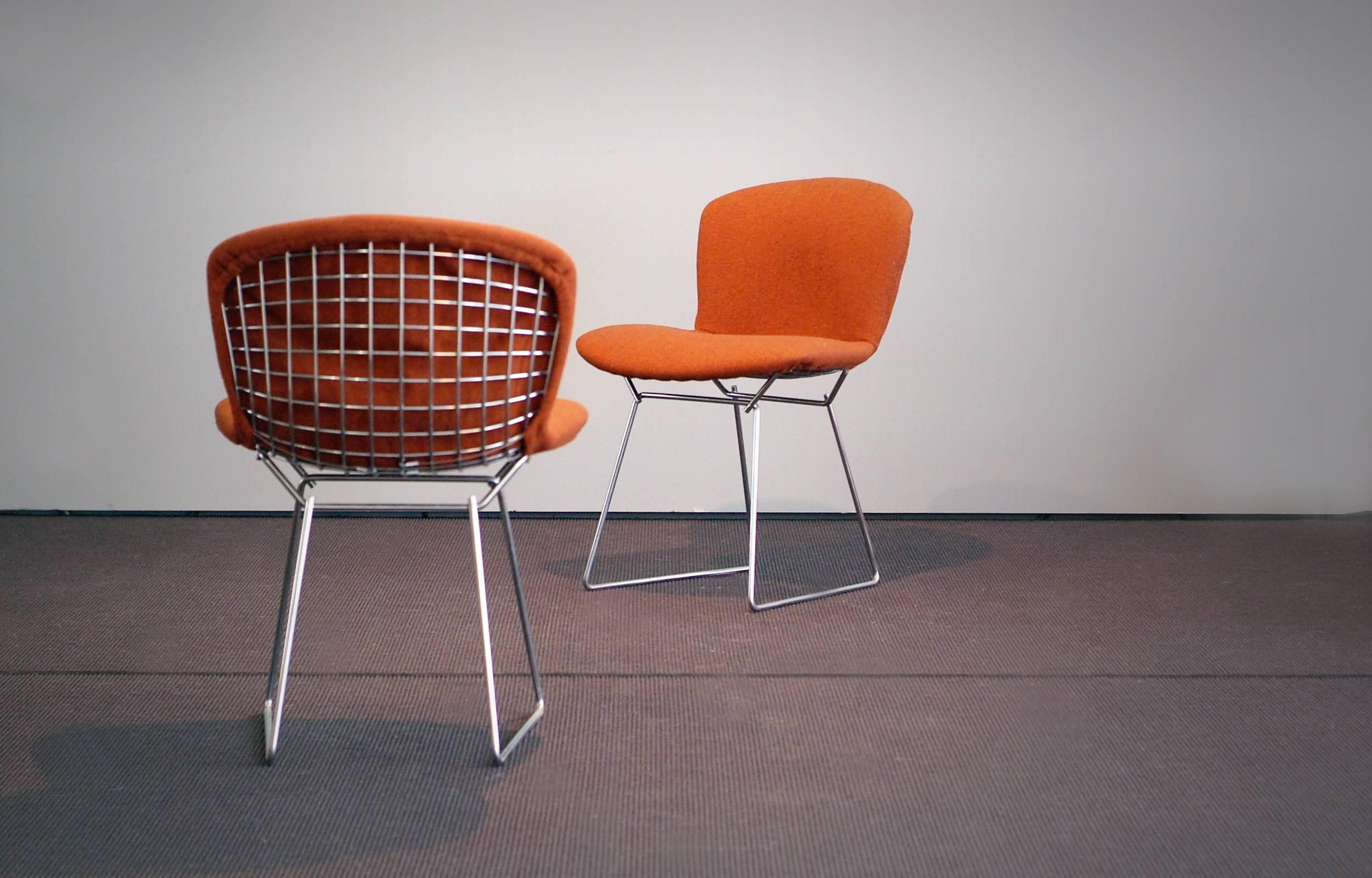 bertoia wire chair original meditation ikea harry side chairs rust red fabric 1960s set of mid century modern