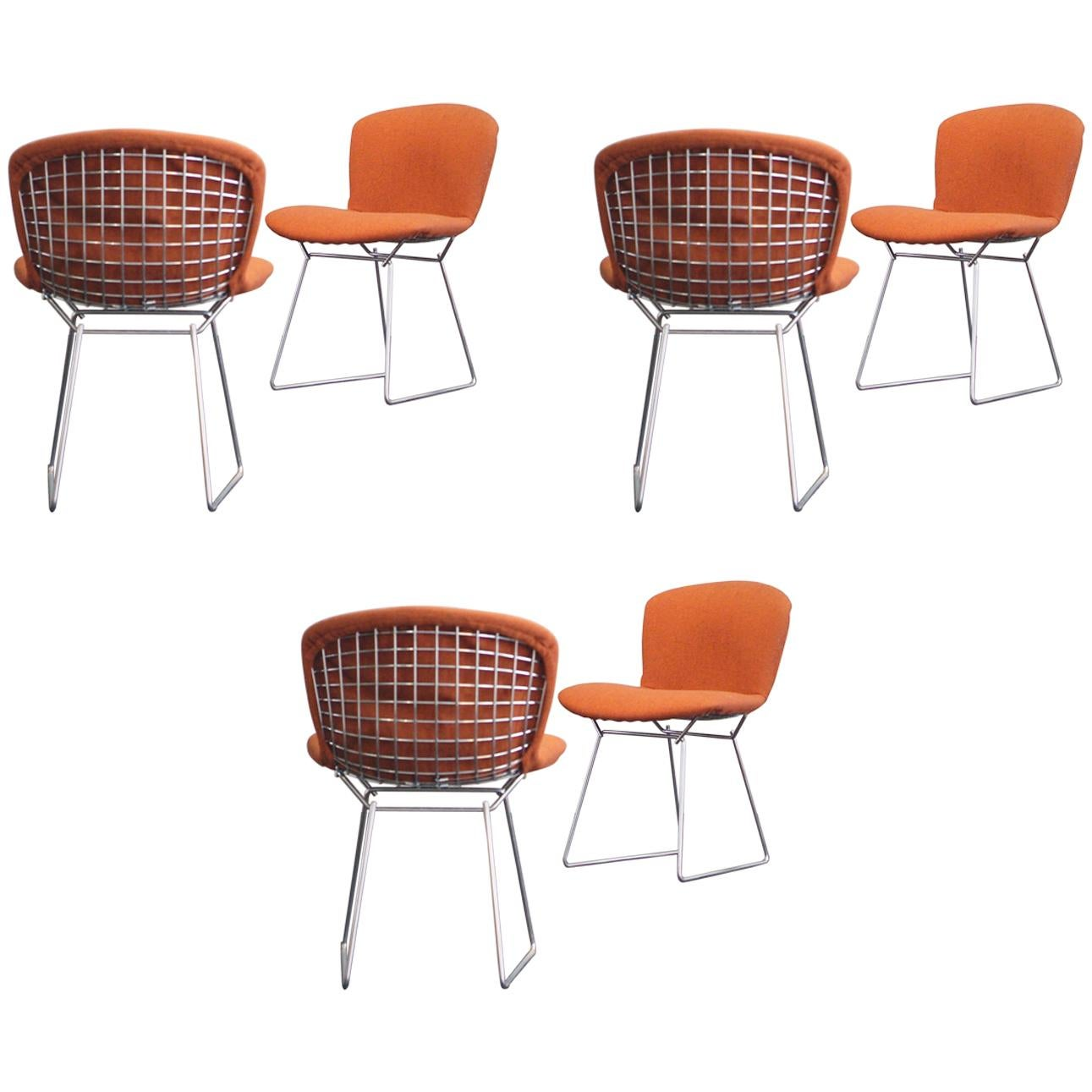 bertoia wire chair original coca cola table and chairs harry side rust red fabric 1960s set of six for sale