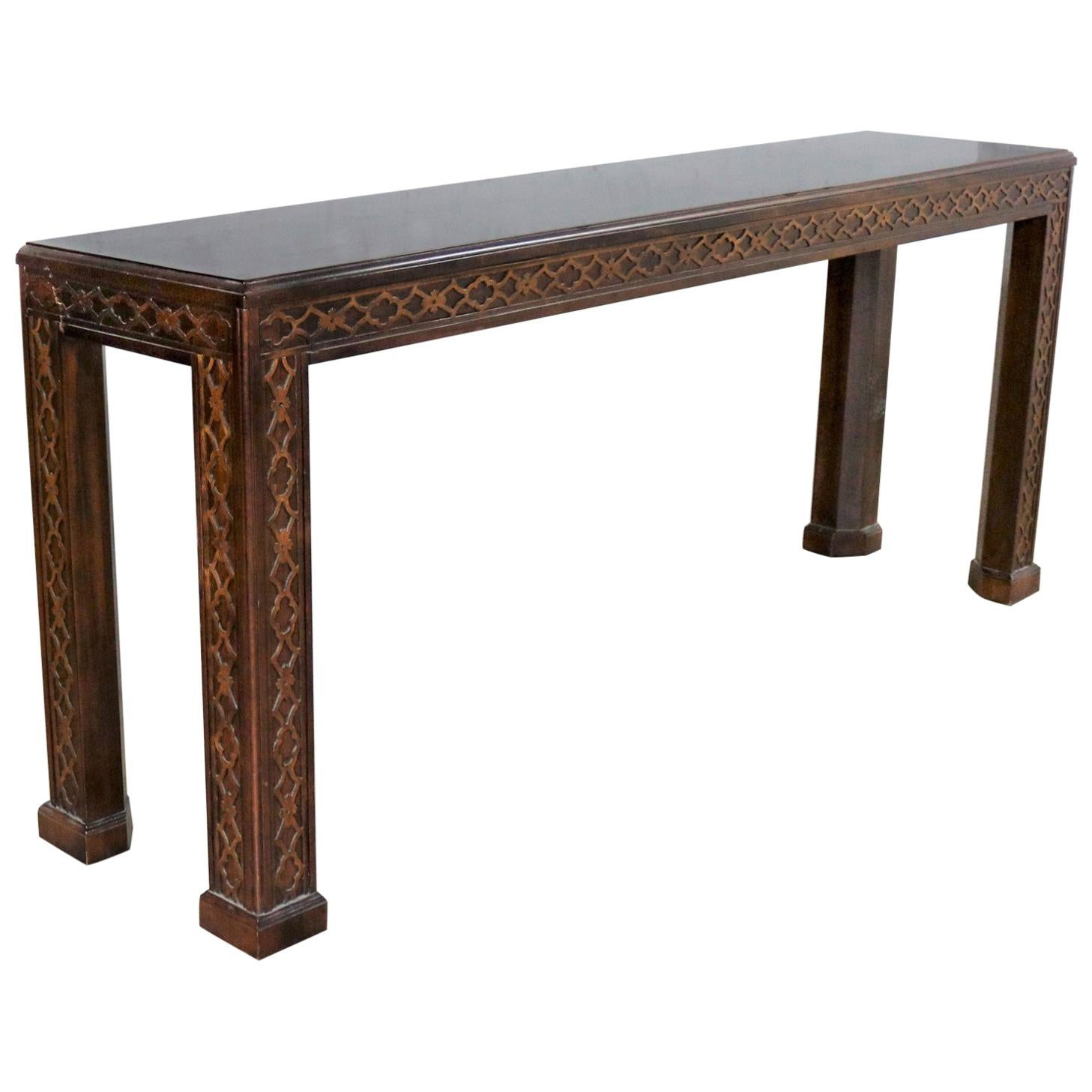 sale sofa tables most comfortable sleeper reviews henredon chinese chippendale chinoiserie console table dark finish fretwork for