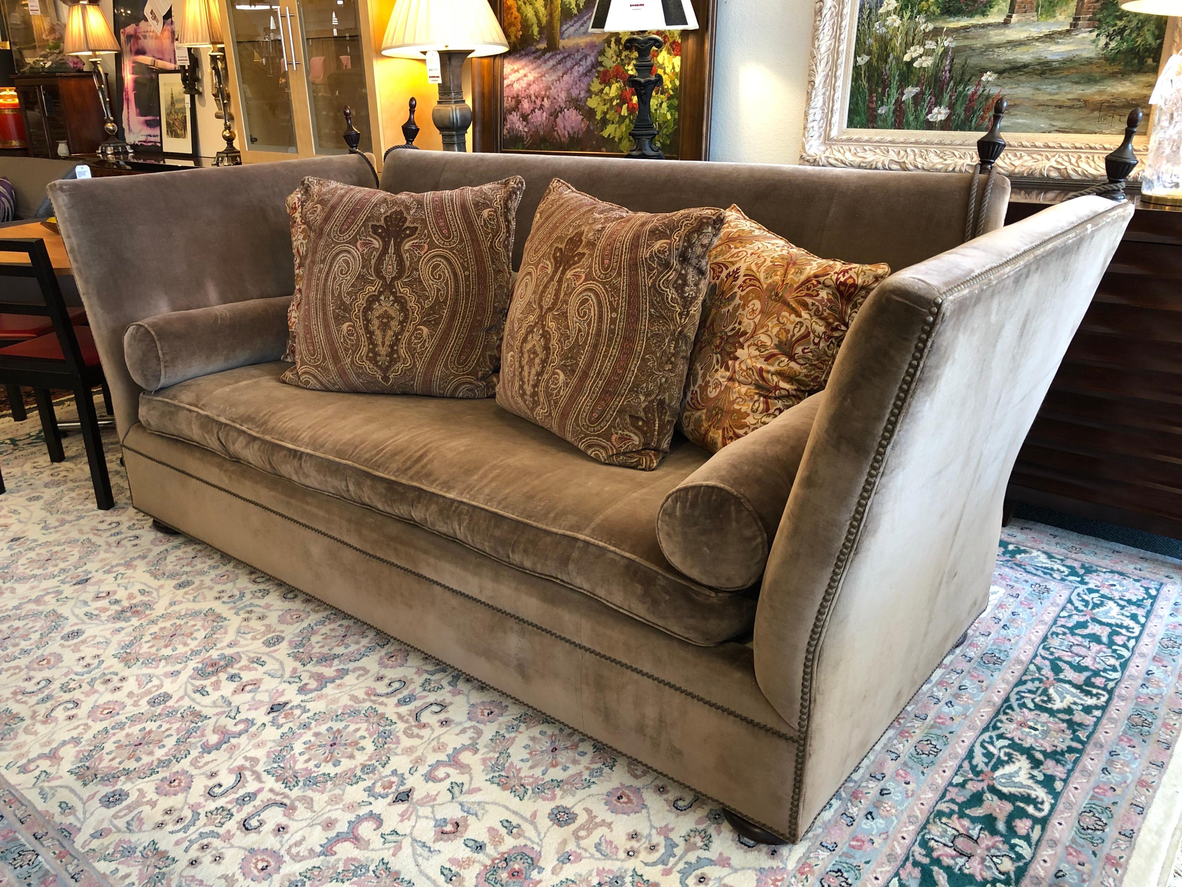 fairmont sofa laura ashley modern gray velvet sectional henredon knole cambridge in mushroom for sale at 1stdibs a rolled side pillows nail head trim