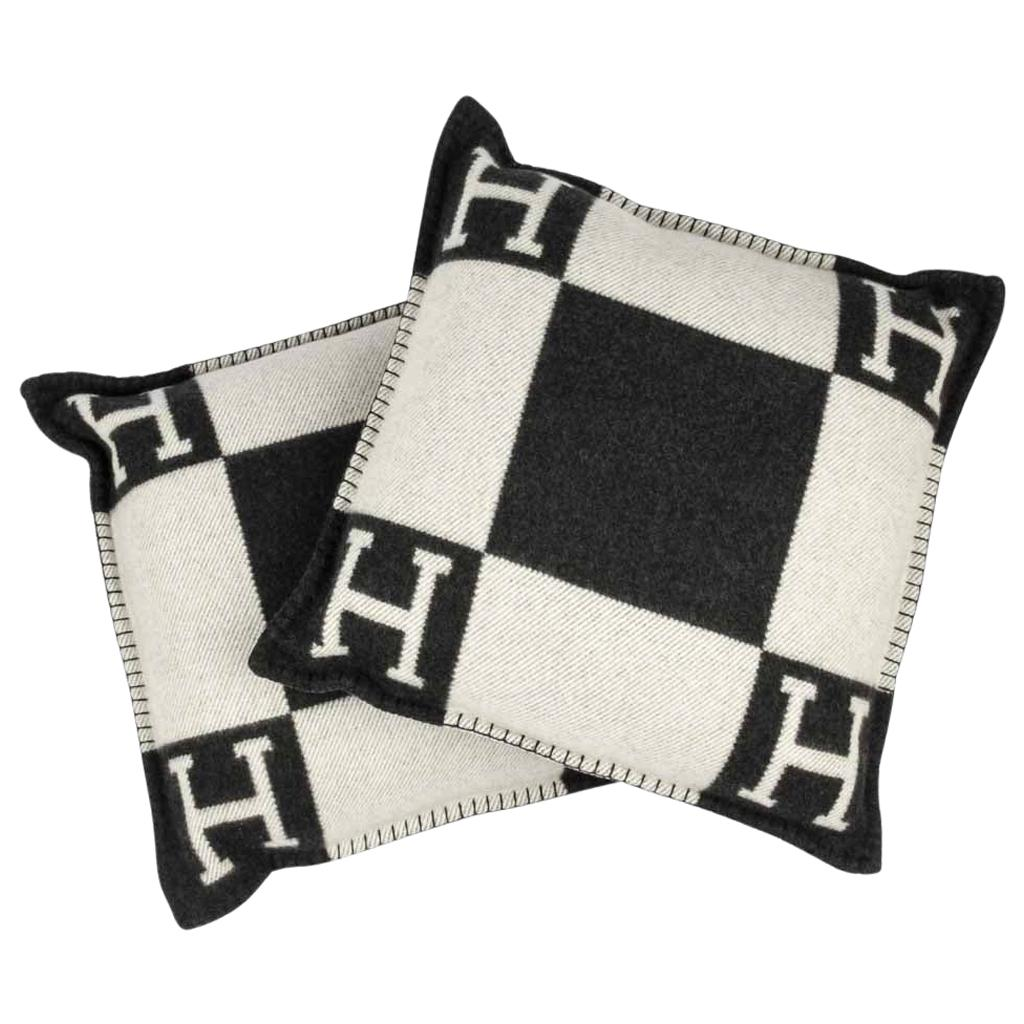 hermes cushion avalon i pm h ecru and gris fonce throw pillow set of two