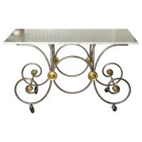 French Style, Marble Top Bakers Table with Brass and Metal