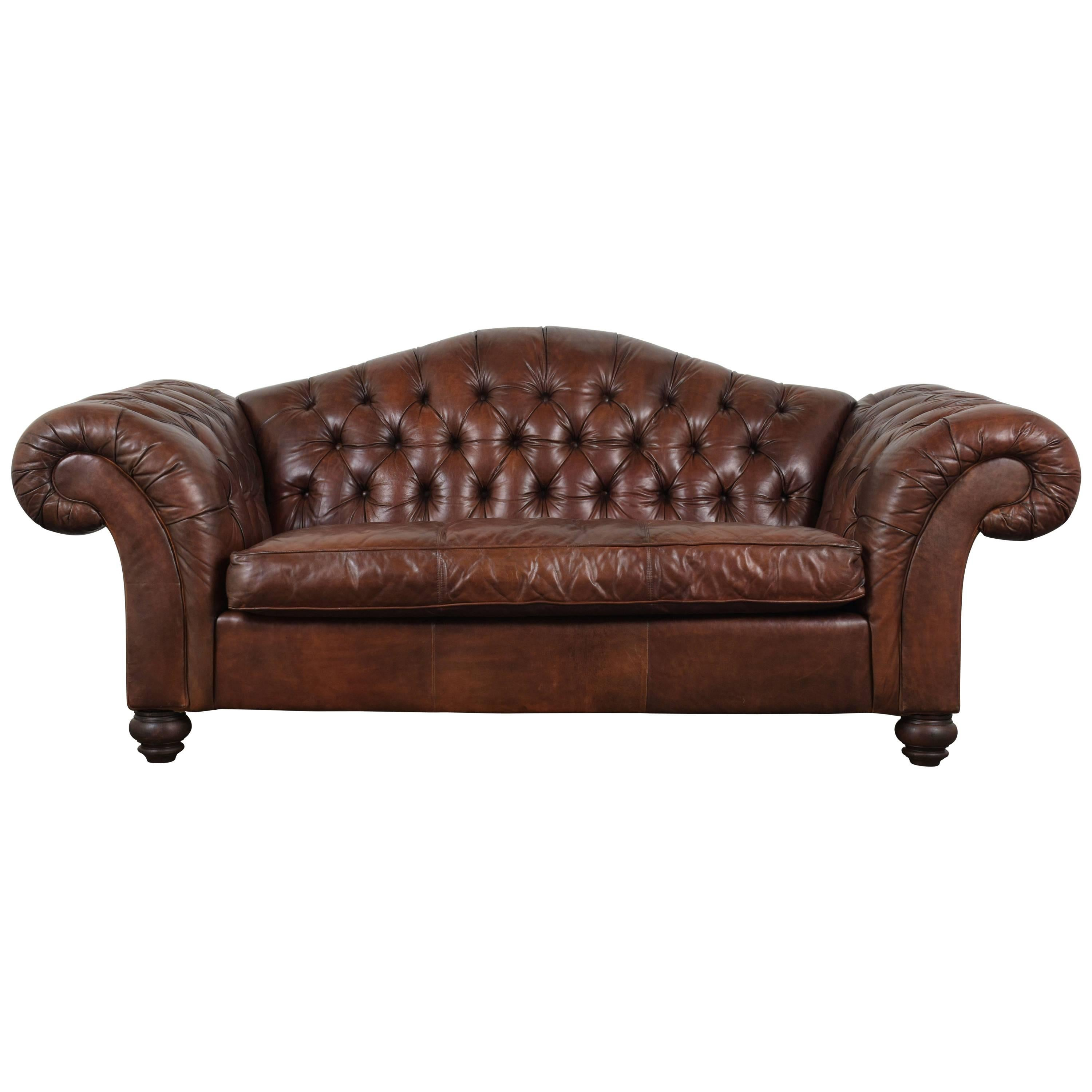 tufted brown leather sofa muji bean review henredon rolled arm english style button hickory chesterfield