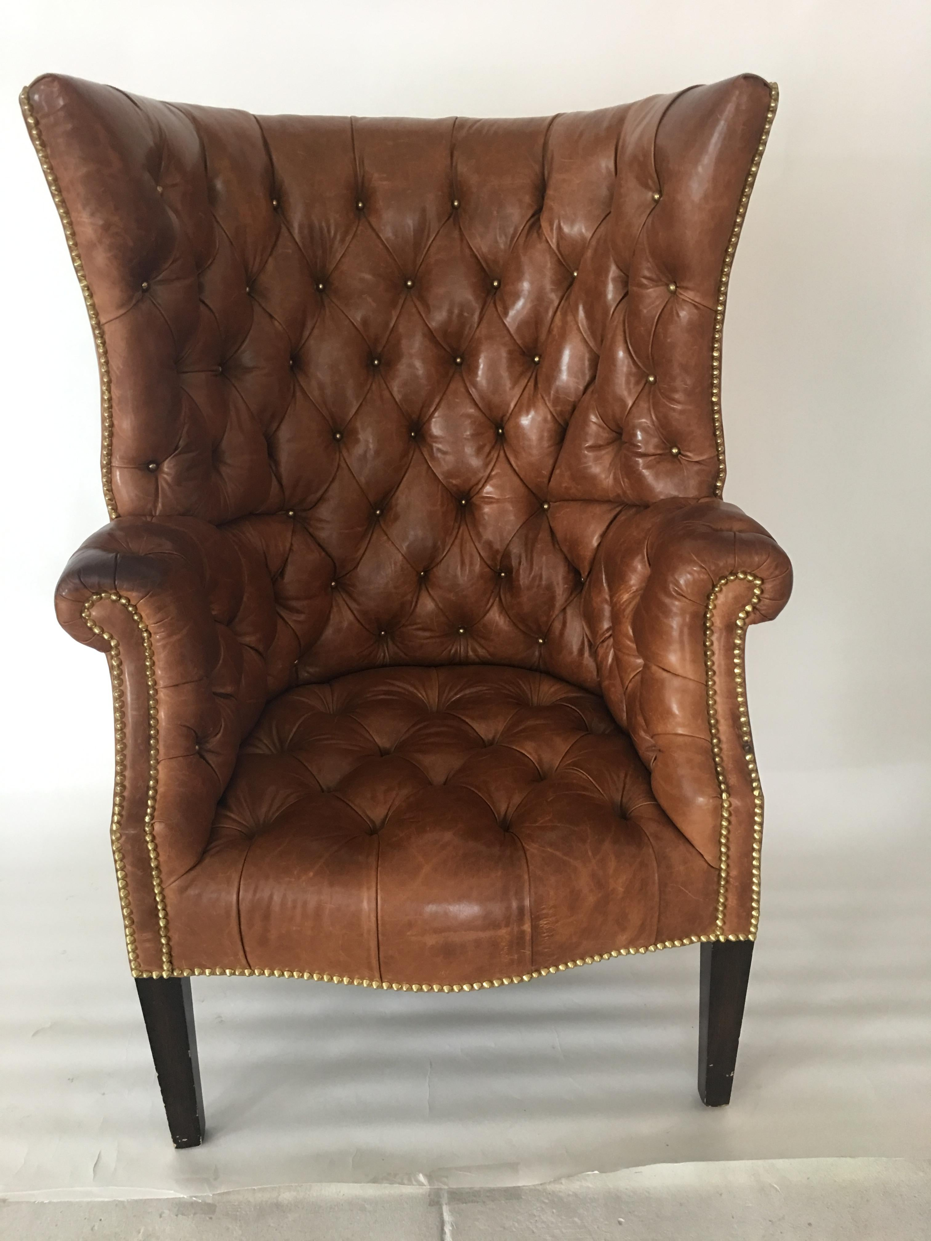 high back tufted chair human touch massage replacement parts leather for sale at 1stdibs