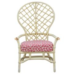 Fan Back Wicker Chair Resin Adirondack Hollywood Regency High Faux Bamboo Rattan By Ficks Reed For Sale