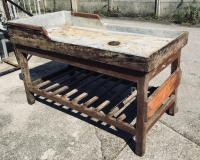 Italian Butcher Counter with Zinc Top and Wood Base from ...