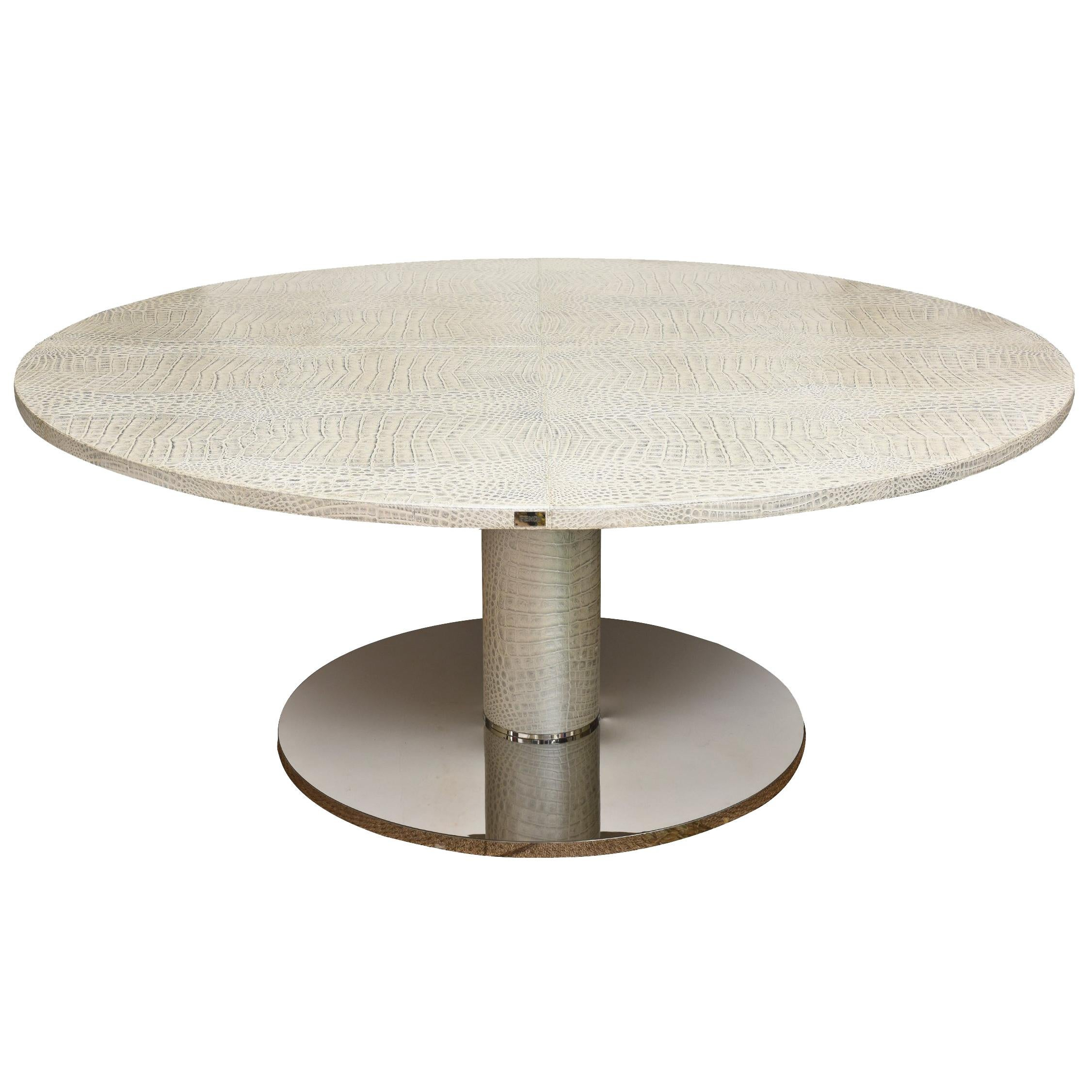 stainless steel kitchen table saloom tables italian fendi round crocodile metallic leather and dining for sale