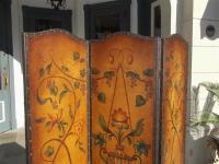 Italian Leather Arched Three-Panel Floral Vine and Urn ...