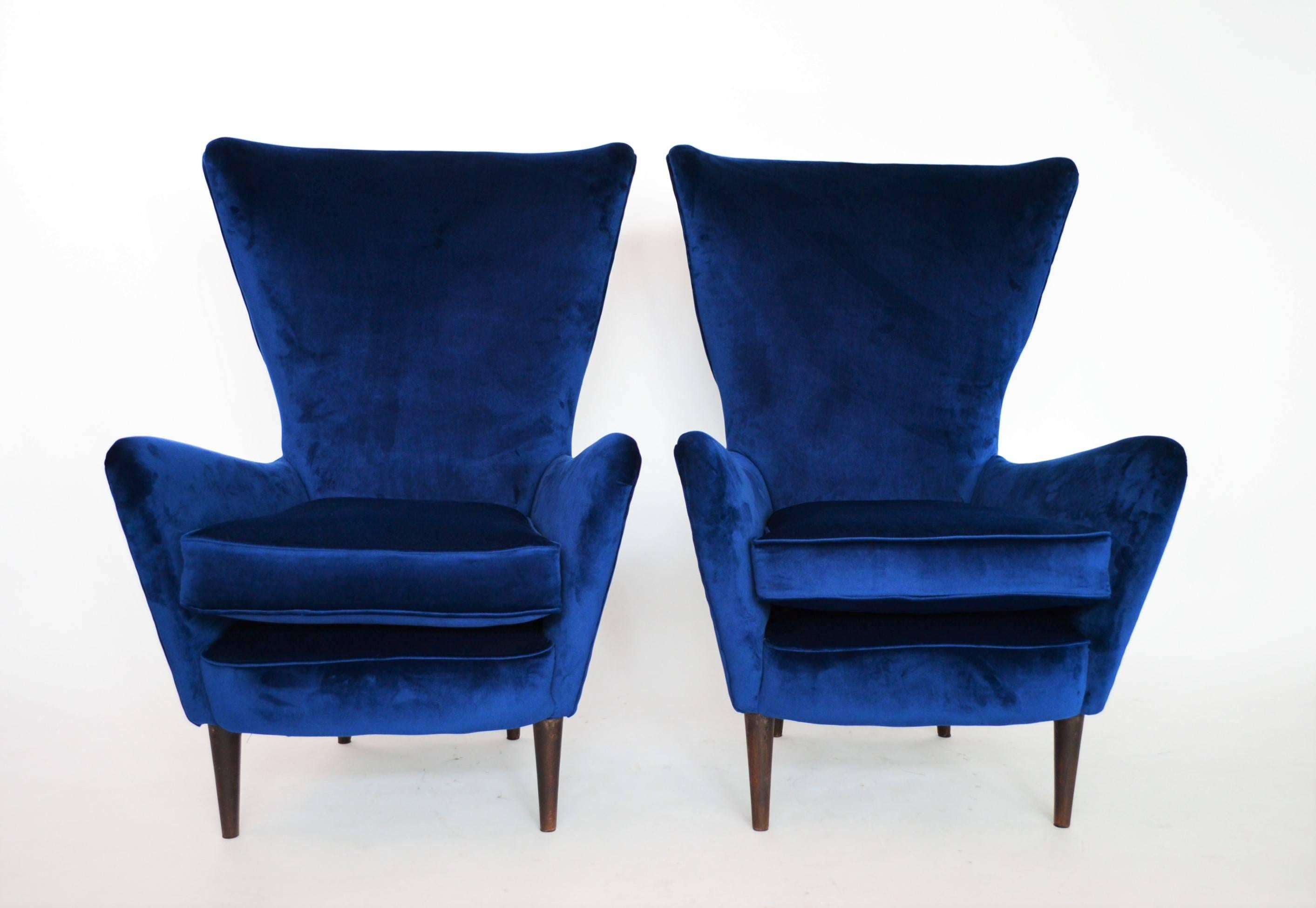 Royal Blue Chair Italian Lounge Chairs Restored With Royal Blue Velvet 1950s