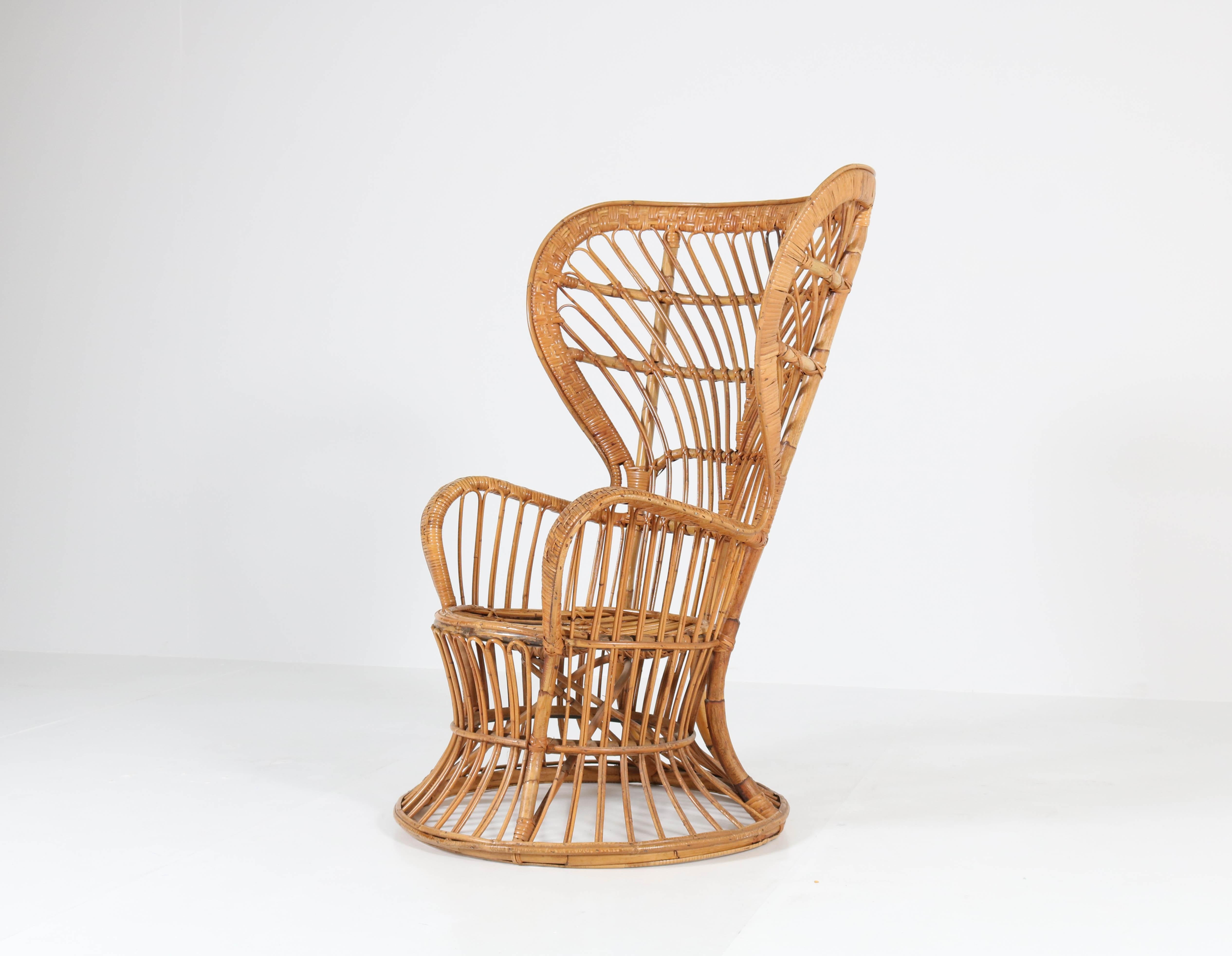 rattan wingback chairs barber chair parts brisbane italian mid century modern by lio carminati offered amsterdam modernism