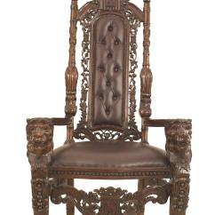 Kings Chair For Sale Cheap Cover Hire Adelaide Italian Renaissance Style 20th Century Mahogany And Leather Throne Revival