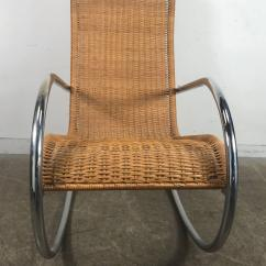 Wicker Rocking Chair Best Dorm Room Chairs Italian Tubular Chrome And Bauhaus Style At In Good Condition For Sale