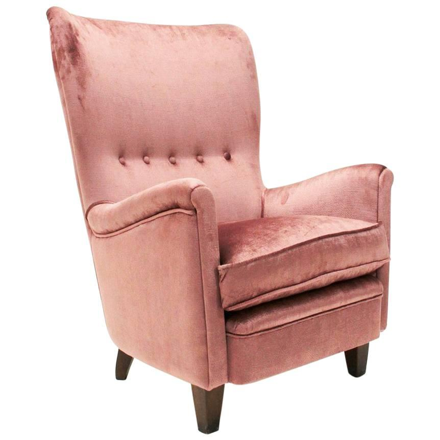 velvet armchair pink accent chair blue italian 1950s pale armchairs at 1stdibs