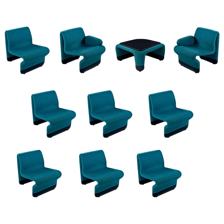 jan ekselius style 10 piece modern modular teal tweed sectional sofa seating