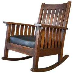1920s Rocking Chair Chairs For Desks L And J G Stickley Arts Crafts Oak Leather Rocker Circa Sale At 1stdibs
