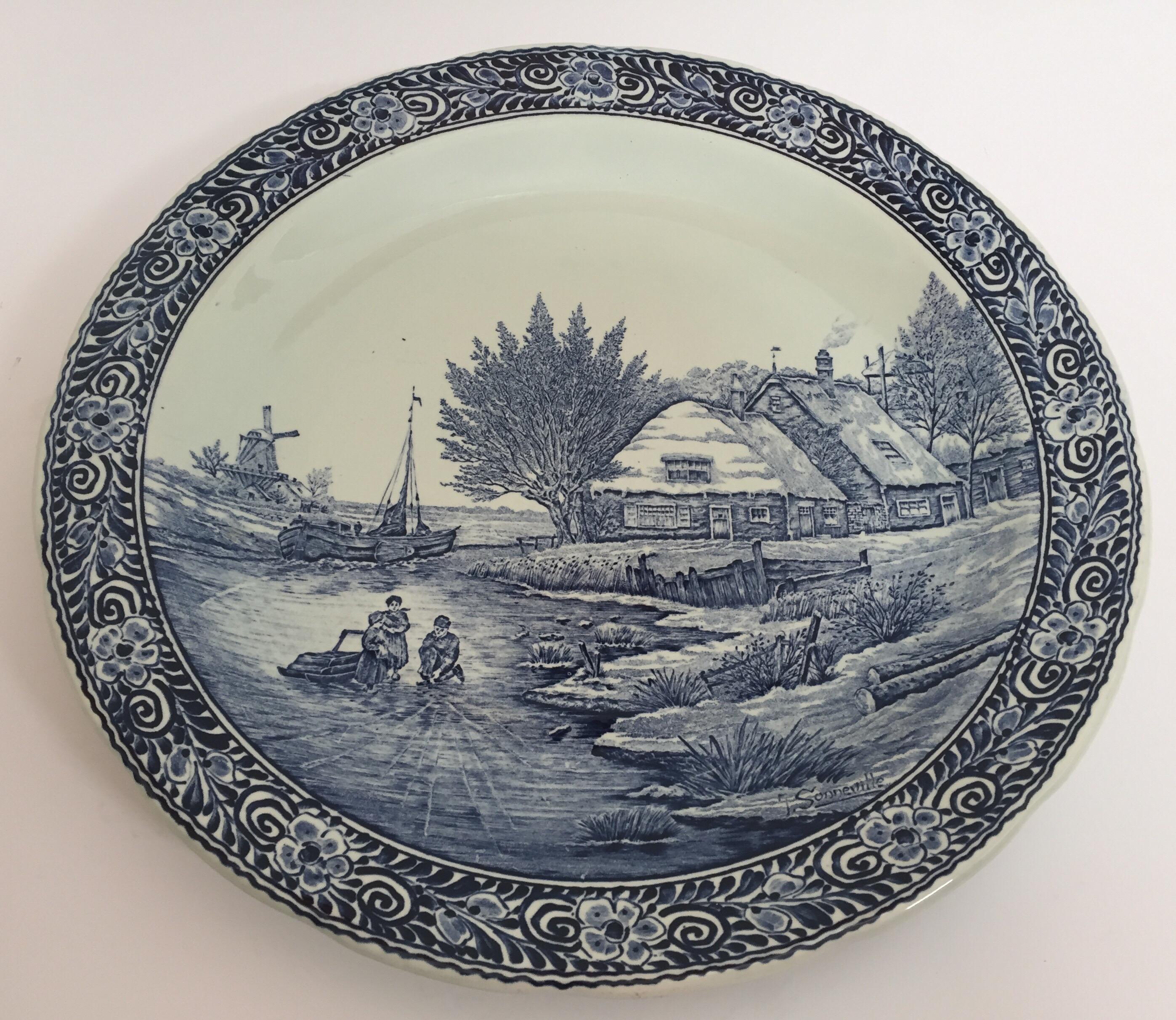 large ceramic plate blue