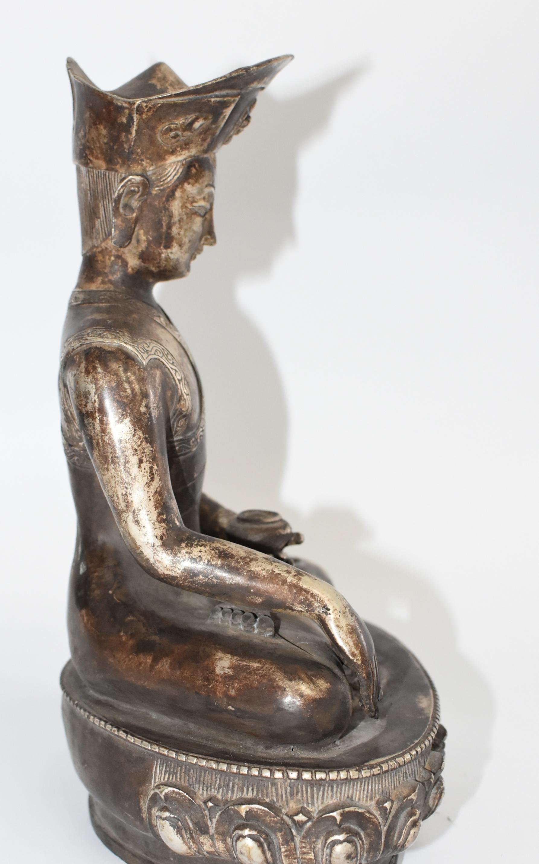 Large Silvered Bronze Tibetan Deity of a Teacher. God of Wisdom at 1stdibs