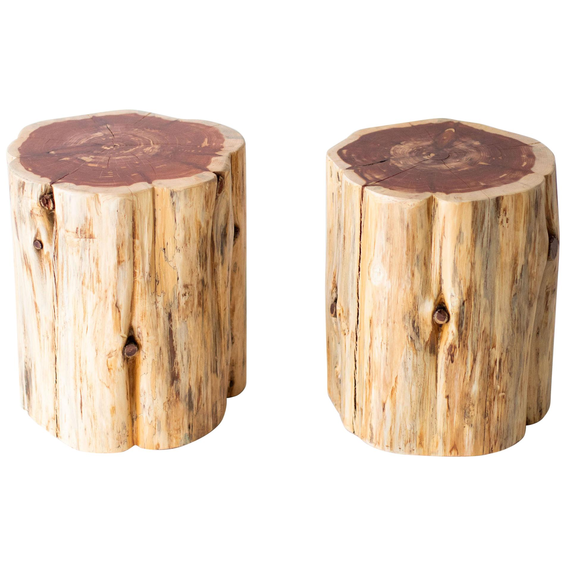 large tree stump side tables natural
