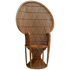 Vintage Peacock Chair Butterfly Covers Walmart Large 1970s Wicker Emmanuel Armchair For Sale At 1stdibs