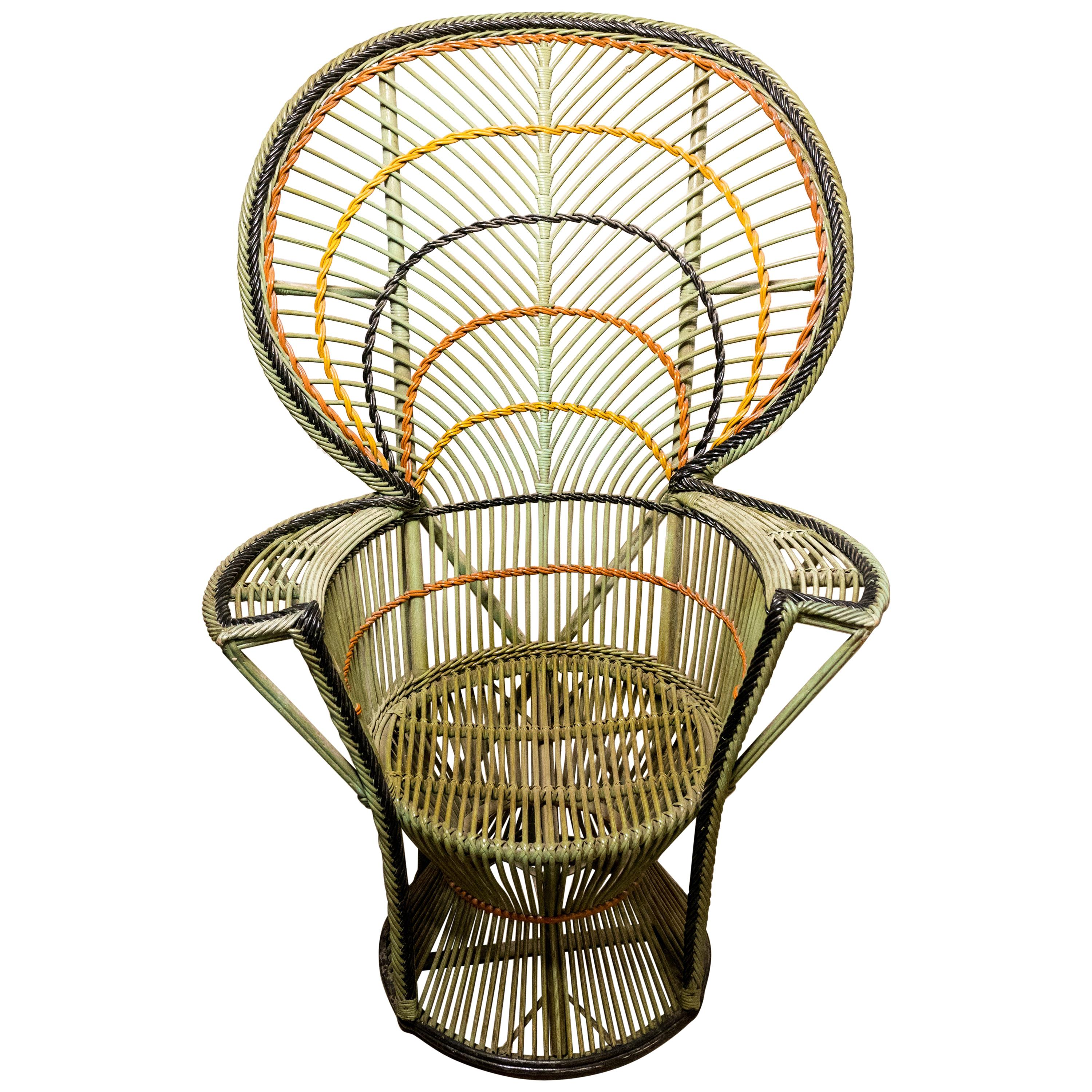 vintage peacock chair personalized camping chairs woven rattan at 1stdibs large bohemian emmanuelle wicker