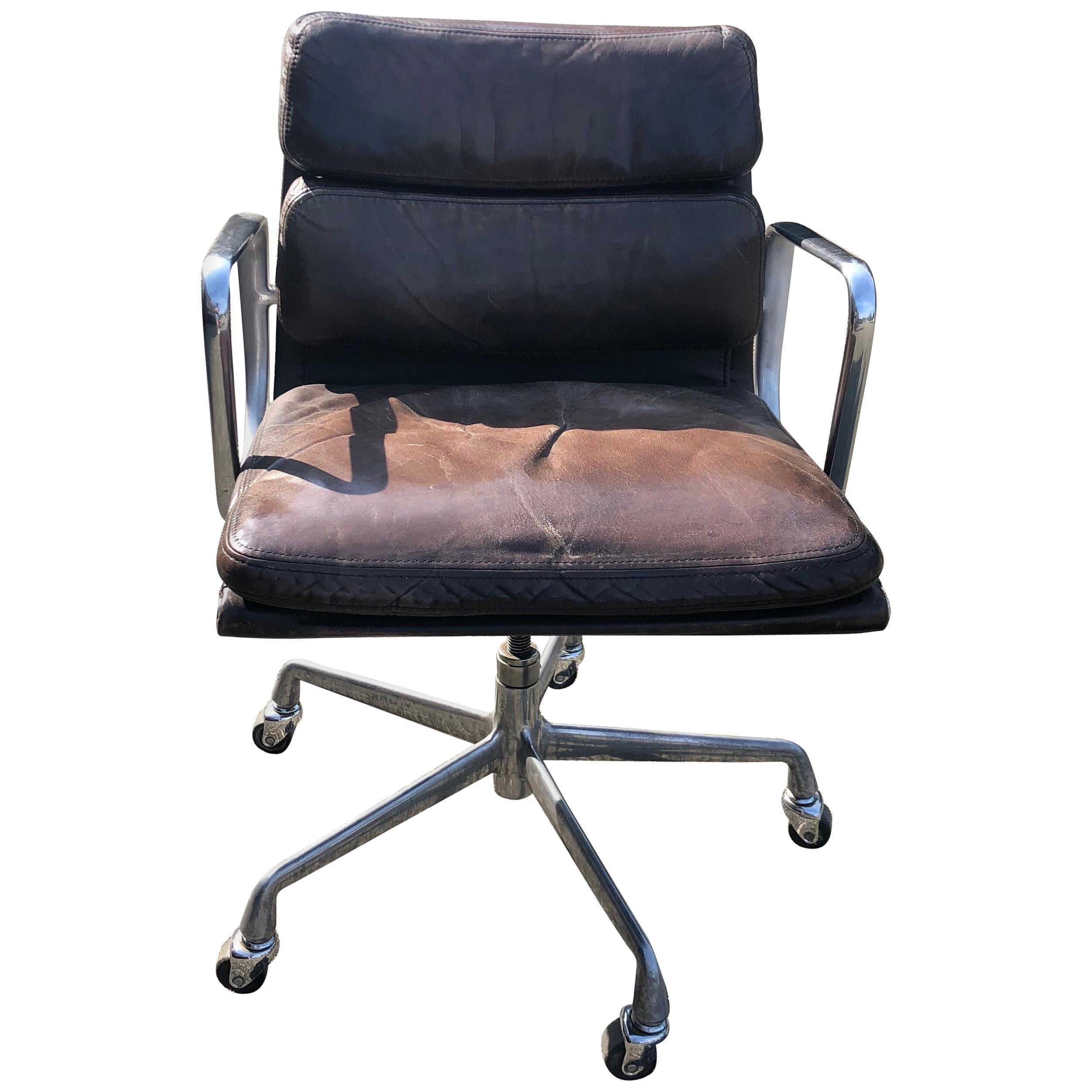 Leather Soft Pad Desk Chair by Charles Eames Mfg Herman