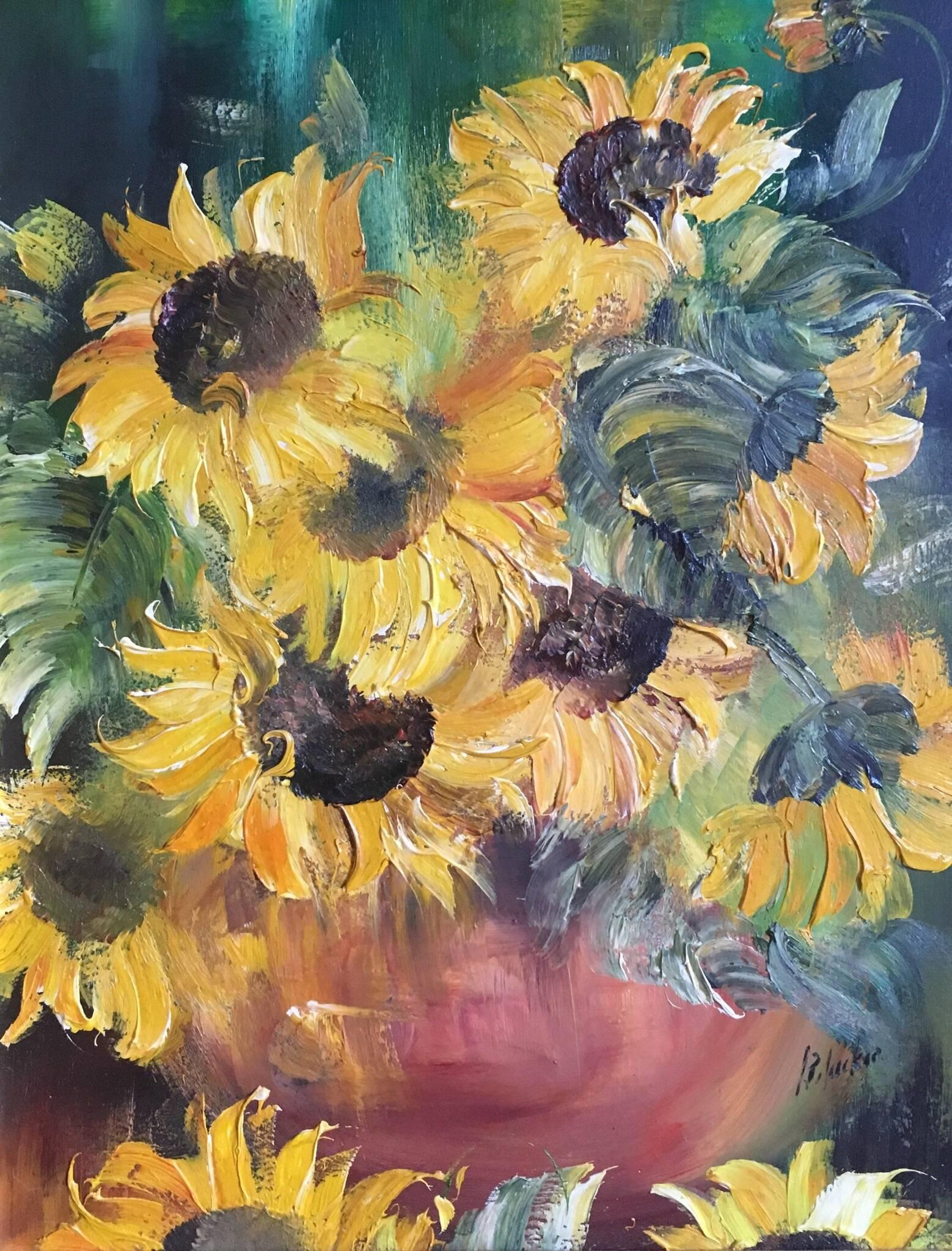 sunflowers impressionist oil painting