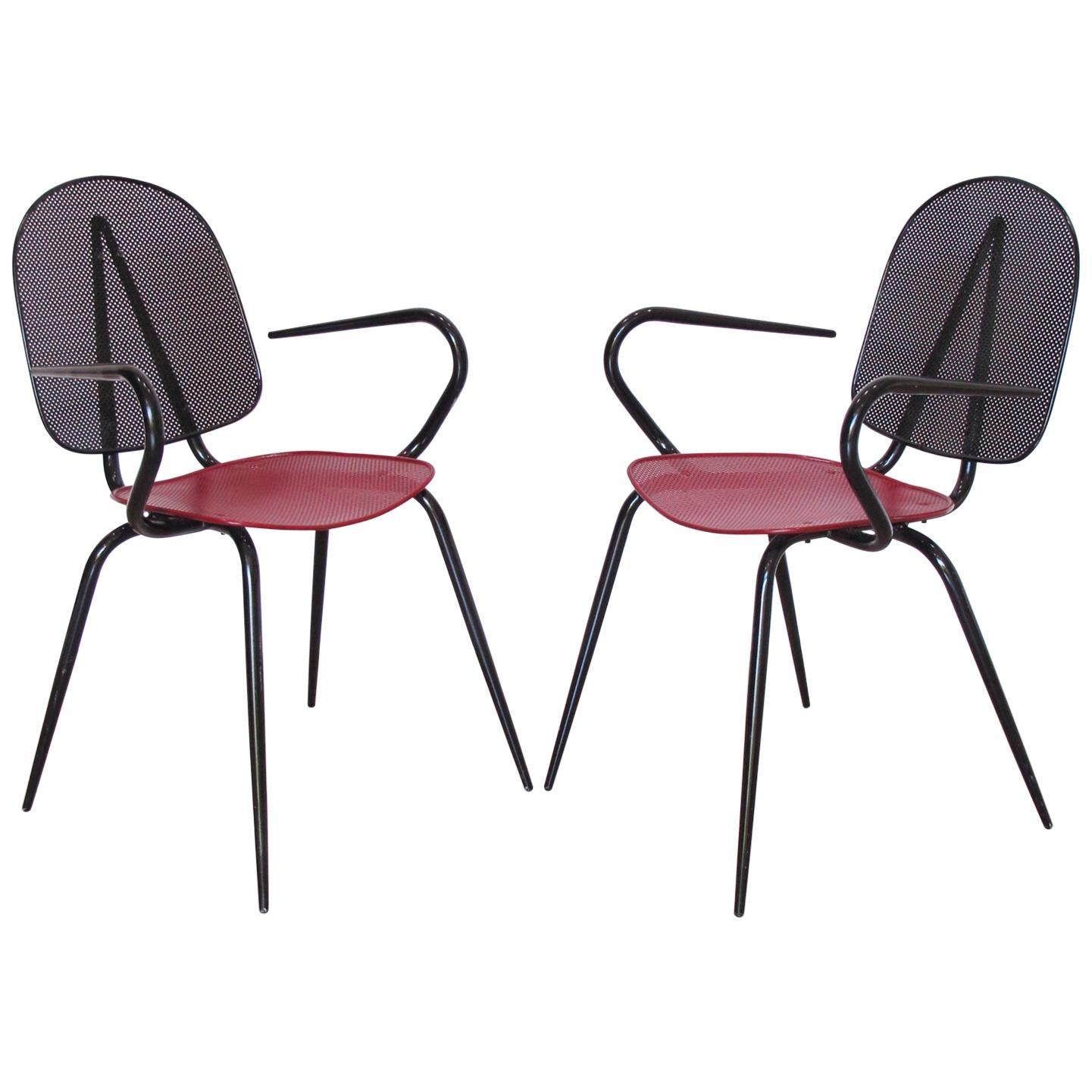 metal armchair most comfortable portable chair manner of mathieu mategot black and red perforated a pair for sale