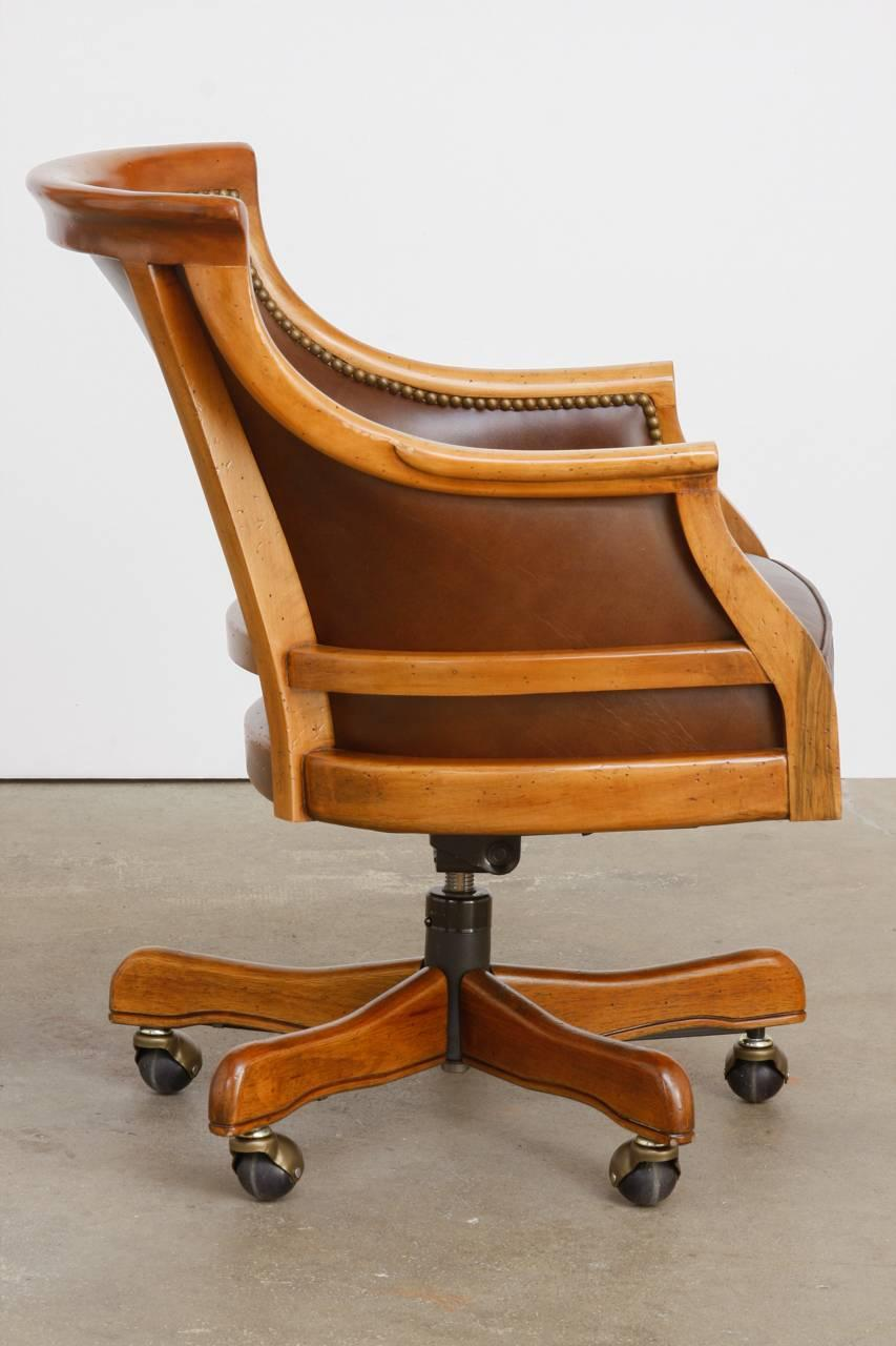 Maple Executive Office Desk Chair by Leathercraft For Sale