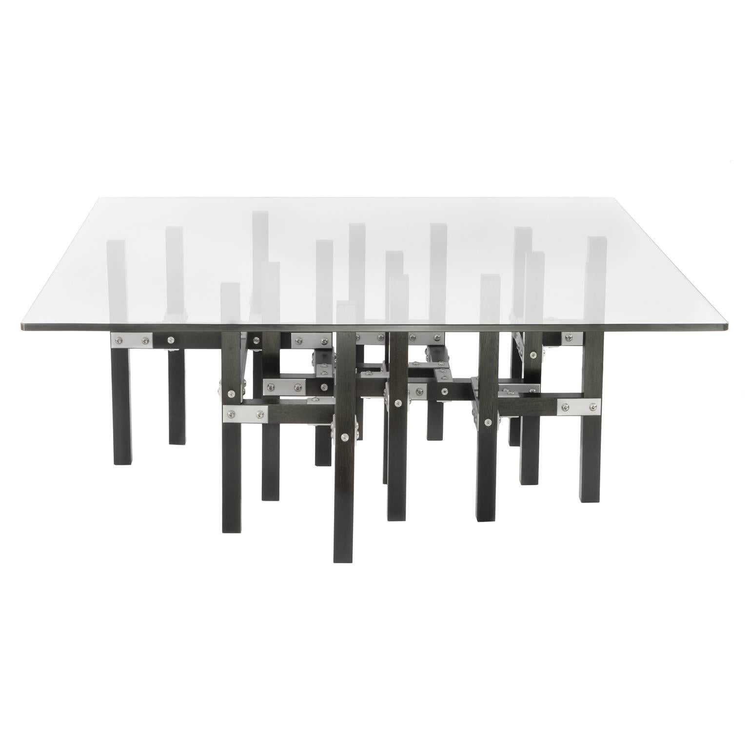 modern industrial coffee table with glass top metal and black wood