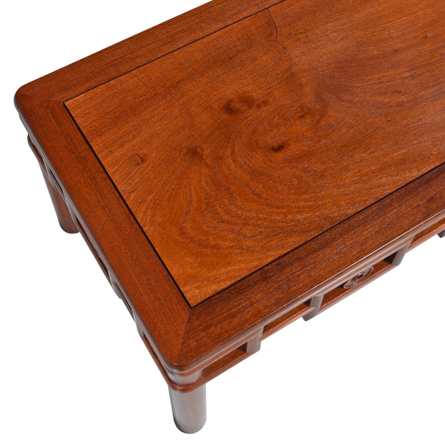 Michael Taylor Style Solid Red Mahogany Asian Modern