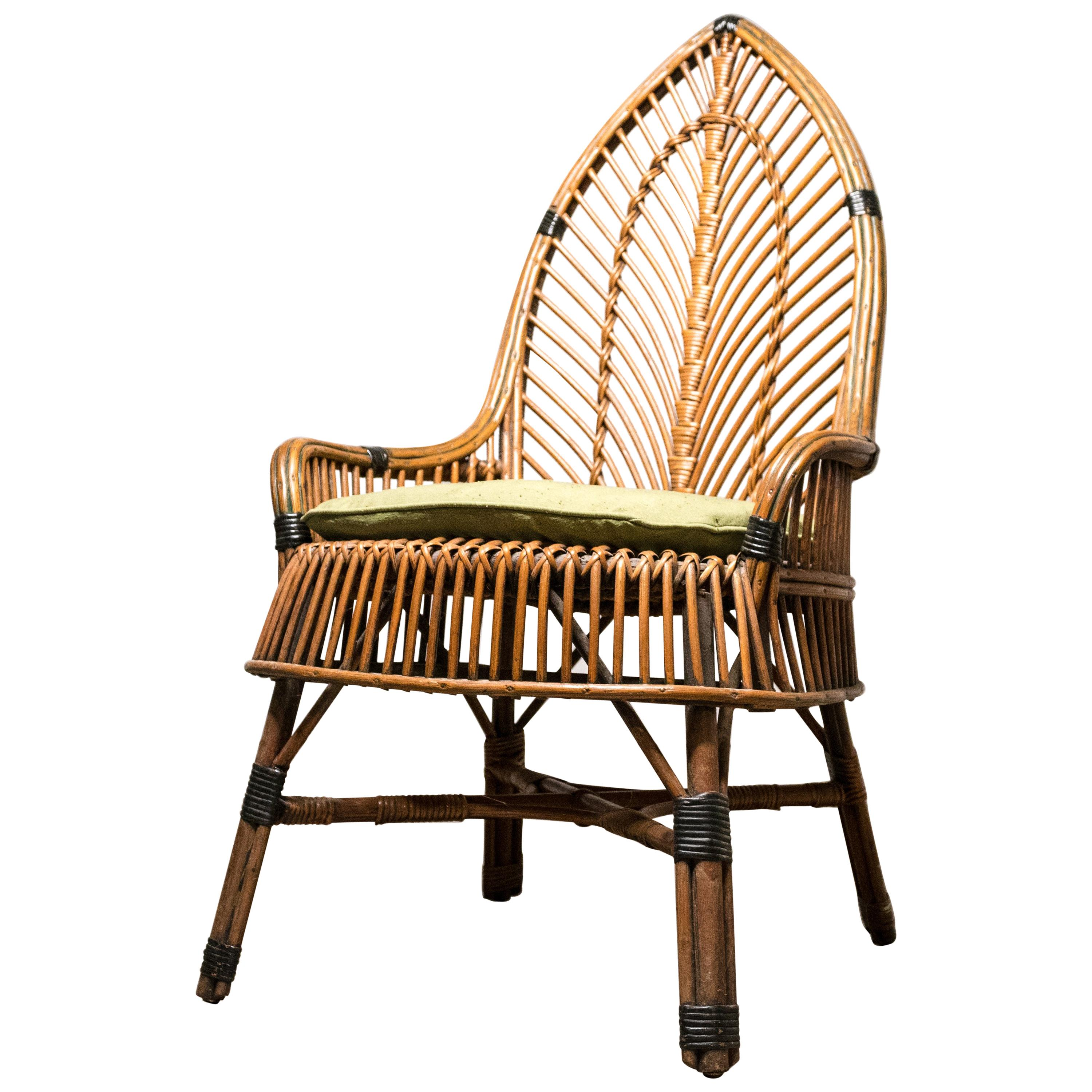 wicker chair for sale wood seat replacement mid century antique at 1stdibs