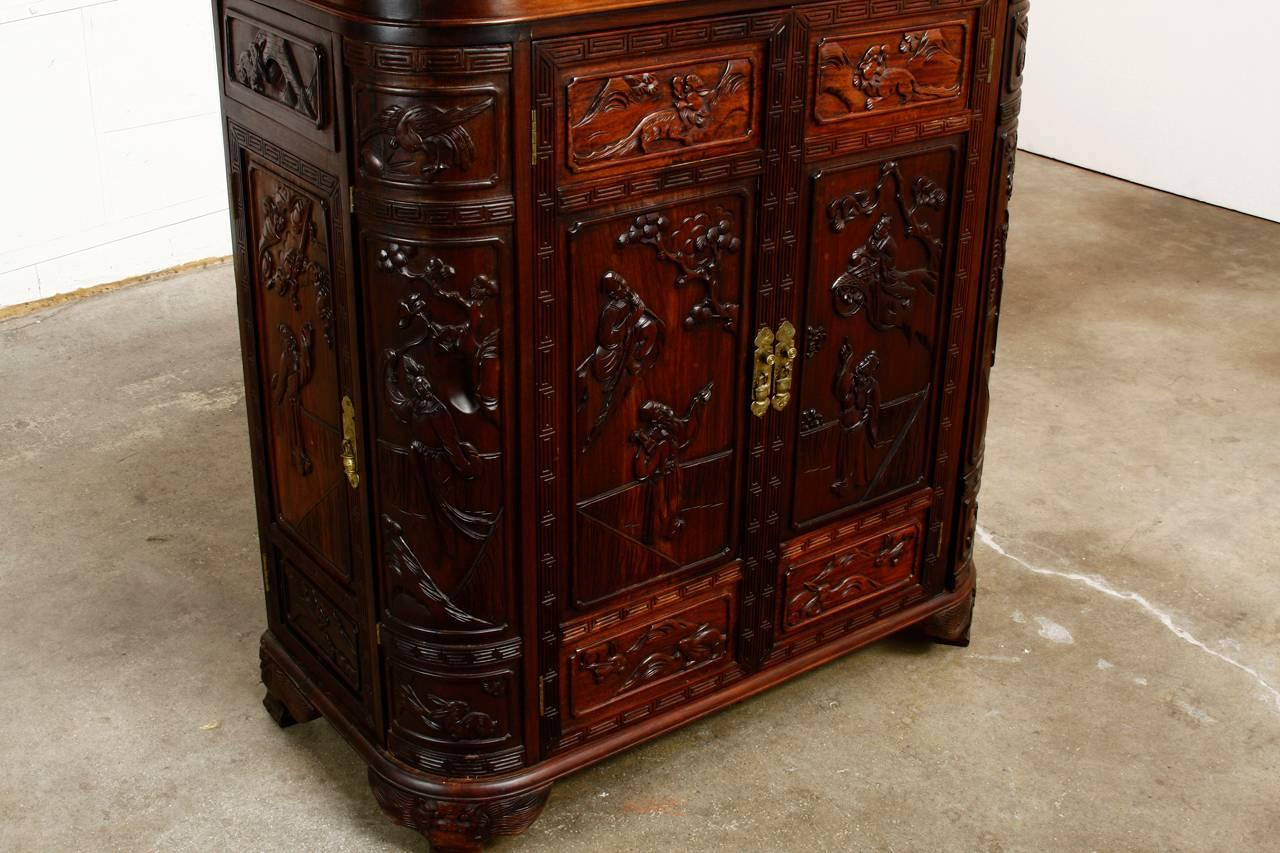 Midcentury Chinese Rosewood Dry Bar Liquor Cabinet At 1stdibs