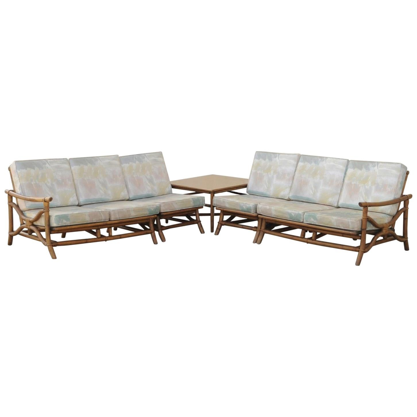 bamboo couch and chairs beach for big tall people mid century ficks reed 5 piece rattan tiki set sofa table pair sale